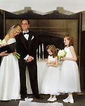 Pam Goldsmith leans her head on Scott Goldsmith during their wedding. photo copyright Jim Mendenhall, 2005.