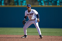 Connecticut Huskies first baseman Reggie Crawford (21) on defense against the Miami Redhawks at Springs Brooks Stadium on March 5, 2021 in Conway, South Carolina. The Huskies defeated the Redhawks 5-0. (Brian Westerholt/Four Seam Images)
