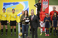 San Diego, Ca - Sunday, January 21, 2018: Hope Solo Carlos Cordeiro during a USWNT 5-1 victory over Denmark at SDCCU Stadium.