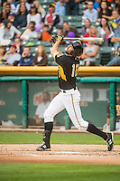 Kyle Kubitza (10) of the Salt Lake Bees at bat against the Oklahoma City Dodgers in Pacific Coast League action at Smith's Ballpark on May 27, 2015 in Salt Lake City, Utah.  (Stephen Smith/Four Seam Images)