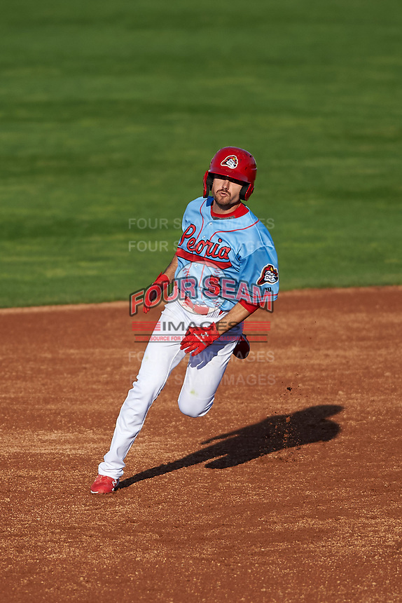 Peoria Chiefs center fielder Brandon Riley (5) hustles towards third base during a Midwest League game against the Bowling Green Hot Rods at Dozer Park on May 5, 2019 in Peoria, Illinois. Peoria defeated Bowling Green 11-3. (Zachary Lucy/Four Seam Images)