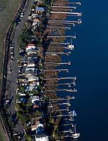 aerial photograph riverfront homes Napa river, California