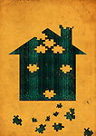 Illustrative image of house made with puzzle blocks representing payment of home loan