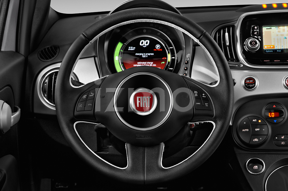 Car pictures of steering wheel view of a 2017 Fiat 500e Battery-Electric 5 Door Hatchback Steering Wheel