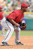 Melvin Mora #4 of the Arizona Diamondbacks plays third base against the San Francisco Giants in the first spring training game of the season at Scottsdale Stadium on February 25, 2011  in Scottsdale, Arizona. .Photo by:  Bill Mitchell/Four Seam Images.
