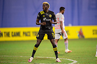 LAKE BUENA VISTA, FL - JULY 16: Gyasi Zardes #11 of the Columbus Crew SC waiting on the ball during a game between New York Red Bulls and Columbus Crew at Wide World of Sports on July 16, 2020 in Lake Buena Vista, Florida.