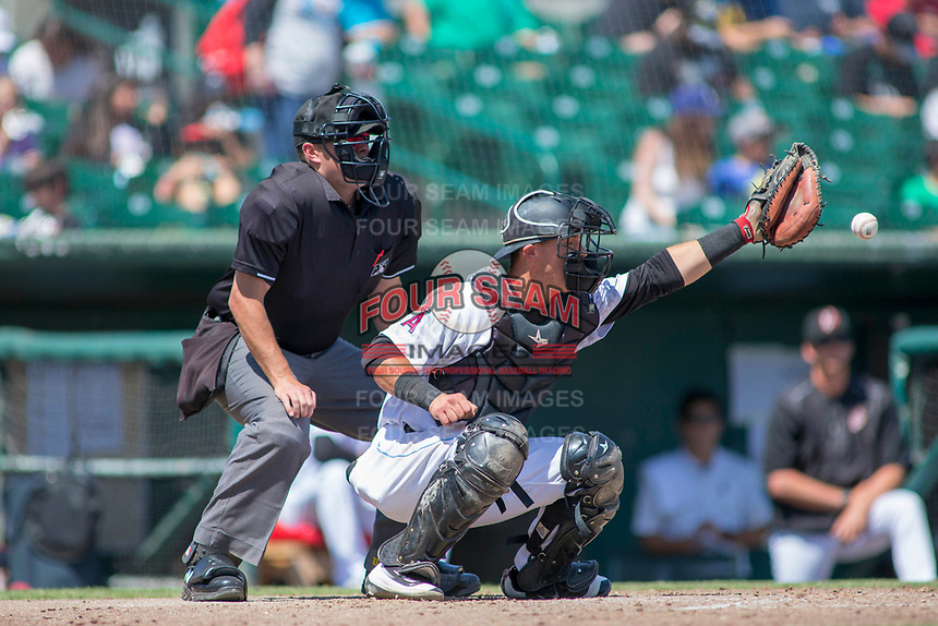 Inland Empire 66ers catcher Jack Kruger (27) in action against the Modesto Nuts at San Manuel Stadium on April 11, 2018 in San Bernardino, California. The 66ers defeated the Nuts 7-0. (Donn Parris/Four Seam Images)
