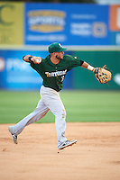 Daytona Tortugas shortstop Blake Trahan (7) throws to first during a game against the Brevard County Manatees on August 14, 2016 at Space Coast Stadium in Viera, Florida.  Daytona defeated Brevard County 9-3.  (Mike Janes/Four Seam Images)