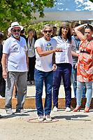 Delphine Gleize, Paul Belmondo et Karine Silla , tournoi de pétanque des personnalités, pendant le soixante-dixième (70ème) Festival du Film à Cannes, Allées de la Liberté, Cannes, Sud de la France, samedi 27 mai 2017. Philippe FARJON / VISUAL Press Agency