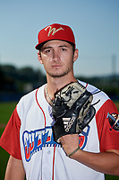 Williamsport Crosscutters pitcher Tyler Carr (7) poses for a photo before a game against the Mahoning Valley Scrappers on August 28, 2018 at BB&T Ballpark in Williamsport, Pennsylvania.  Williamsport defeated Mahoning Valley 8-0.  (Mike Janes/Four Seam Images)