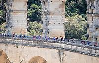 Team Ineos over the ancient/famous aquaduct 'Pont du Gare'<br /> <br /> Stage 16: Nîmes to Nîmes(177km)<br /> 106th Tour de France 2019 (2.UWT)<br /> <br /> ©kramon