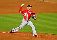 23 July 2011: Washington Nationals pitcher Henry Rodriguez on the mound against the Los Angeles Dodgers at Dodger Stadium in Los Angeles, California. The Dodgers rallied to defeat the Nationals 7-6 on a Rafael Furcal walk-off, RBI double in the bottom of the 9th inning. Mandatory Credit: Ed Wolfstein Photo