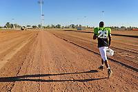 Sept. 16, 2009; Casa Grande, AZ, USA; California Redwoods cornerback Eddie Moten runs out to the field prior to training camp at the Casa Grande Training Facility & Performance Institute. Mandatory Credit: Mark J. Rebilas-