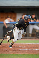 Bristol Pirates left fielder Eddy Vizcaino (31) runs to first base during the second game of a doubleheader against the Bluefield Blue Jays on July 25, 2018 at Bowen Field in Bluefield, Virginia.  Bristol defeated Bluefield 5-2.  (Mike Janes/Four Seam Images)