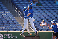 Memphis Tigers Taylor Howell (27) celebrates with Ben Brooks (24) after hitting a home run during a game against the East Carolina Pirates on May 25, 2021 at BayCare Ballpark in Clearwater, Florida.  (Mike Janes/Four Seam Images)