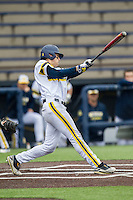 Michigan Wolverines third baseman Jake Bivens (18) swings the bat against the Bowling Green Falcons on April 6, 2016 at Ray Fisher Stadium in Ann Arbor, Michigan. Michigan defeated Bowling Green 5-0. (Andrew Woolley/Four Seam Images)