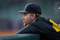 Eric Rinzel (25) of the Missouri Tigers watches from the dugout during the game against the Texas Longhorns in game eight of the 2020 Shriners Hospitals for Children College Classic at Minute Maid Park on March 1, 2020 in Houston, Texas. The Tigers defeated the Longhorns 9-8. (Brian Westerholt/Four Seam Images)