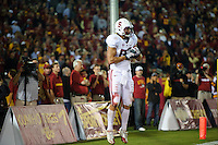 LOS ANGELES, CA - October 29, 2011:  Coby Fleener celebrates his catch of an Andrew Luck pass for a two point conversion in the third overtime of Stanford's Pac-12 victory over the USC Trojans.  Stanford won in triple overtime, 56 -48 and extended its winning streak to 16 games.