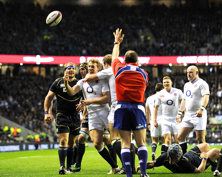 Billy Twelvetrees of England celebrates scoring a try on his debut during the RBS 6 Nations match between England and Scotland at Twickenham on Saturday 02 February 2013 (Photo by Rob Munro)