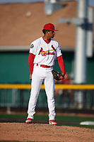 Johnson City Cardinals relief pitcher Oneiver Diaz (28) looks in for the sign during a game against the Danville Braves on July 29, 2018 at TVA Credit Union Ballpark in Johnson City, Tennessee.  Johnson City defeated Danville 8-1.  (Mike Janes/Four Seam Images)