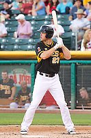 Brennan Boesch (23) of the Salt Lake Bees at bat against the Sacramento River Cats at Smith's Ballpark on June 6, 2014 in Salt Lake City, Utah.  (Stephen Smith/Four Seam Images)