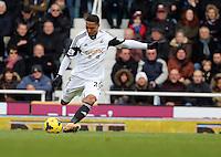 Pictured: Jonathan de Guzman of Swansea. 01 February 2014<br /> Re: Barclay's Premier League, West Ham United v Swansea City FC at Boleyn Ground, London.