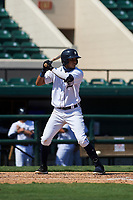 Detroit Tigers Carlos Irigoyen (43) bats during a Florida Instructional League intrasquad game on October 17, 2020 at Joker Marchant Stadium in Lakeland, Florida.  (Mike Janes/Four Seam Images)