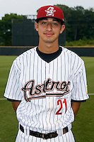 Jiovanni Mier #21 of the Greeneville Astros at Pioneer Park June 28, 2009 in Greeneville, Tennessee. (Photo by Brian Westerholt / Four Seam Images)