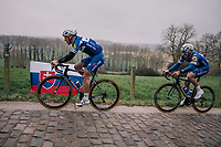 Philippe Gilbert (BEL/Quick Step floors) & Florian Sénéchal (FRA/Quick-Step Floors) in the gutter up the Taaienberg<br /> <br /> 61th E3 Harelbeke (1.UWT)<br /> Harelbeke - Harelbeke (206km)