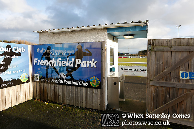 The entrance to Frenchfield Park. Penrith AFC V Hebburn Town, Northern League Division One, 22nd December 2018. Penrith are the only Cumbrian team in the Northern League. All the other teams are based across the Pennines in the north east.<br /> Penrith, winless at kick off, lost a thriller 3-4, in front of 100 people. They won five games all season, but were reprieved from relegation following Blyth's resignation from the league.