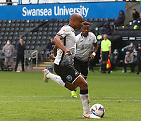 17th October 2020; Liberty Stadium, Swansea, Glamorgan, Wales; English Football League Championship Football, Swansea City versus Huddersfield Town; Andre Ayew of Swansea City strikes the penalty to make it 1-1 in the 33rd minute