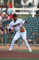 Robinson Pina (9) of the Inland Empire 66ers pitches against the Lake Elsinore Storm at San Manuel Stadium on June 15,<br /> 2021 in San Bernardino, California. (Larry Goren/Four Seam Images)