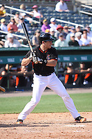JT Realmuto (60) of the Miami Marlins at bat during a Grapefruit League Spring Training game at the Roger Dean Complex on March 4, 2014 in Jupiter, Florida. Miami defeated Minnesota 3-1. (Stacy Jo Grant/Four Seam Images)