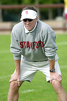 Buddy Teevens during practices on April 8, 2002 at the practice field at Stanford, CA.<br />Photo credit mandatory: Gonzalesphoto.com