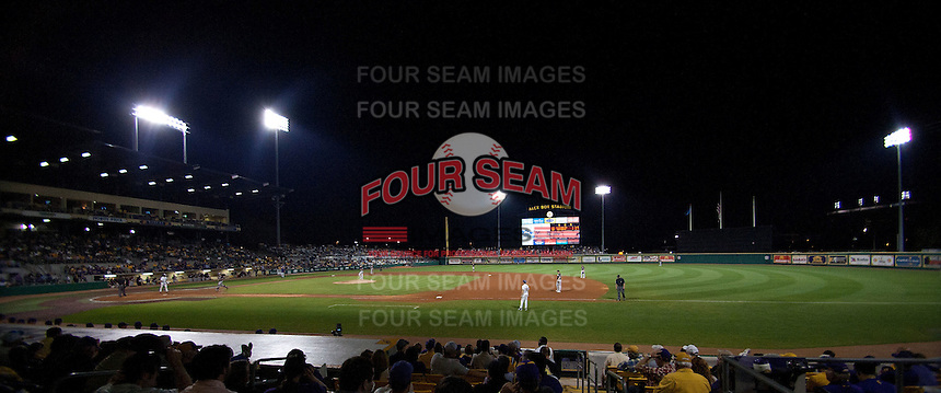 LSU's Alex Box Stadium during an NCAA baseball game against the Mississippit State Bulldogs on March 16, 2012 at Alex Box Stadium in Baton Rouge, Louisiana. LSU defeated Mississippi State 3-2 in 10 innings. (Andrew Woolley / Four Seam Images).