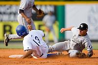 Burlington right fielder Alwin Perez (13) steals second base as Bristol second baseman Jesus Avila  (26) can't catch the throw at Burlington Athletic Park in Burlington, NC, Sunday, August 26, 2007.