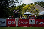Jeff Overton teeing off at the seventeenth during Round 2 of the CIMB Asia Pacific Classic 2011.  Photo © Raf Sanchez / PSI for Carbon Worldwide