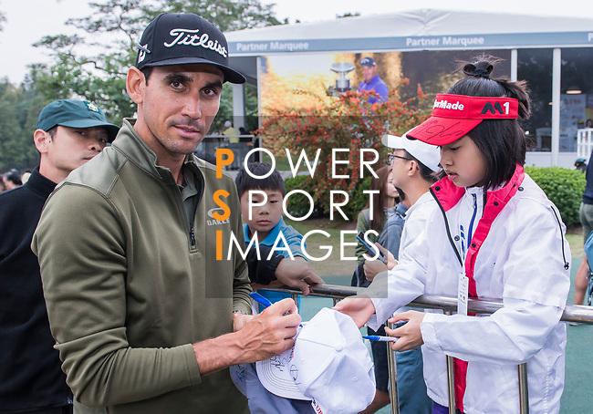 Rafa Cabrera Bello of Spain signs autograph for the golf fansduring the day three of UBS Hong Kong Open 2017 at the Hong Kong Golf Club on 25 November 2017, in Hong Kong, Hong Kong. Photo by Marcio Rodrigo Machado / Power Sport Images