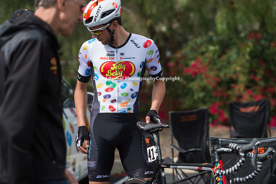 San Dimas, Ca - March 25, 2018: The Jelly Belly Cycling Team on the 3rd day of the San Dimas Stage Race.