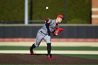 Louisville Cardinals starting pitcher Bobby Miller (15) delivers a pitch to the plate against the Wake Forest Demon Deacons at David F. Couch Ballpark on March 7, 2020 in  Winston-Salem, North Carolina. The Demon Deacons defeated the Cardinals 3-2. (Brian Westerholt/Four Seam Images)