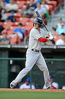 Pawtucket Red Sox outfielder Jeremy Hazelbaker (23) at bat during a game against the Buffalo Bisons on August 4, 2013 at Coca-Cola Field in Buffalo, New York.  Pawtucket defeated Buffalo 8-1.  (Mike Janes/Four Seam Images)
