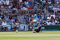 ST PAUL, MN - JULY 18: DJ Taylor #26 of Minnesota United FC jumps over Brad Smith #11 of the Seattle Sounders FC during a game between Seattle Sounders FC and Minnesota United FC at Allianz Field on July 18, 2021 in St Paul, Minnesota.
