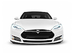 2017 Tesla Model S luxury electric car front view isolated on white background with clipping path Image © MaximImages, License at https://www.maximimages.com