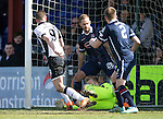 Ross County v St Johnstone…..30.04.16  Global Energy Stadium, Dingwall<br />Steven MacLean scores to make it 1-0<br />Picture by Graeme Hart.<br />Copyright Perthshire Picture Agency<br />Tel: 01738 623350  Mobile: 07990 594431