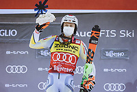 22nd December 2020, Madonna di Campiglio, Italy; FIS Mens slalom world cup race;  Winner Henrik Kristoffersen of Norway during the winners ceremony for the mens Slalom