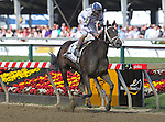 May 15, 2015: Stopchargingmaria, John Velazquez up, wins the Grade III Allaire DuPont Distaff Stakes at Pimlico Race Course in Baltimore, MD. Trainer is Todd Pletcher, owner is Repole Stable. Joan Fairman Kanes/ESW/CSM