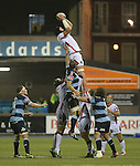 Ulster's Dan Tuohy wins the line out <br /> <br /> Rugby - Cardiff Blues v Ulster - Sportingwales- Friday 19th September 2014 - Cardiff Arms Park  - Cardiff<br /> <br /> © www.sportingwales.com- PLEASE CREDIT Steve Pope