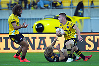 Hurricanes' Luke Campbell celebrates his try during the Super Rugby Aotearoa match between the Hurricanes and Chiefs at Sky Stadium in Wellington, New Zealand on Saturday, 20 March 2020. Photo: Dave Lintott / lintottphoto.co.nz
