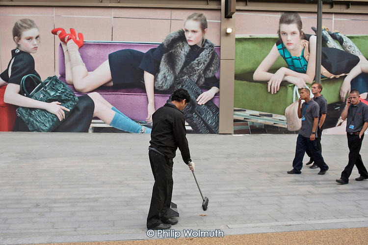Cleaners at Westfield Stratford City, the largest urban shopping centre in Europe, will be the gateway to the London 2012 Olympic Park. 2,000 of the 10,000 permanent jobs at the new retail complex have gone to the local unemployed.