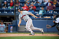Pawtucket Red Sox designated hitter Sam Travis (15) at bat during a game against the Scranton/Wilkes-Barre RailRiders on May 15, 2017 at PNC Field in Moosic, Pennsylvania.  Scranton defeated Pawtucket 8-4.  (Mike Janes/Four Seam Images)